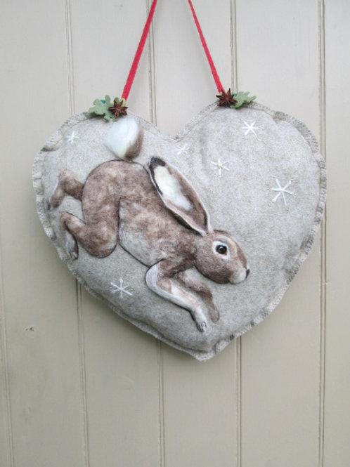 Snow Hare Large Door Heart