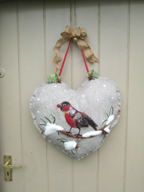 Bird on Snowy Branch with fir cones Large Heart