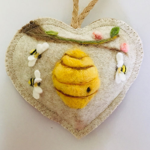 Traditional Bee Hive ~ personalised gift heart, personalized gift
