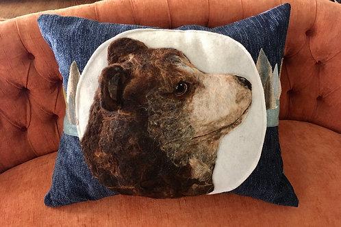 Brown Bear velvet feel printed pillow