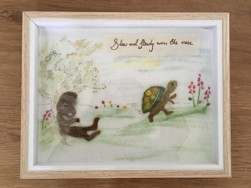 Aesop's Fable, The Hare and the Tortoise, needle felt picture