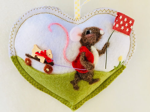 4th of July Mouse with flag and wagon ~  personalised gift heart