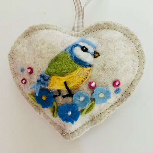 Blue Tit in forget-me-nots on beige ~ personalised gift heart