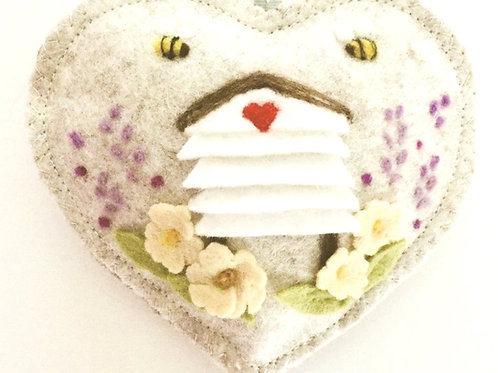 Wooden Bee Hive ~ personalised gift heart, personalized gift
