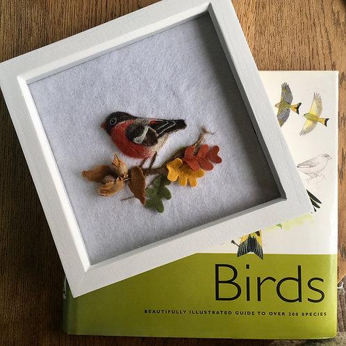 Bullfinch Bird on an Autumn Branch needle felt picture