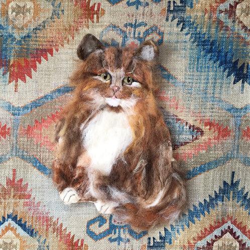 Cat print kilim background velvet feel pillow