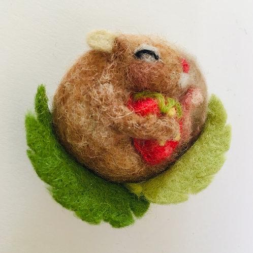 Strawberry Sleeping mouse Felt brooch