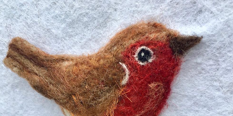 Christmas special, felting a robin on a snowy branch.