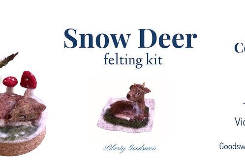 Sleeping deer in the snow felting kit- craft full kit