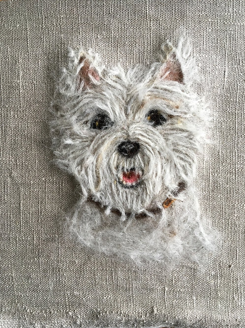 Flat Dog Portrait Picture medium - Your own dog mounted on board ready to frame