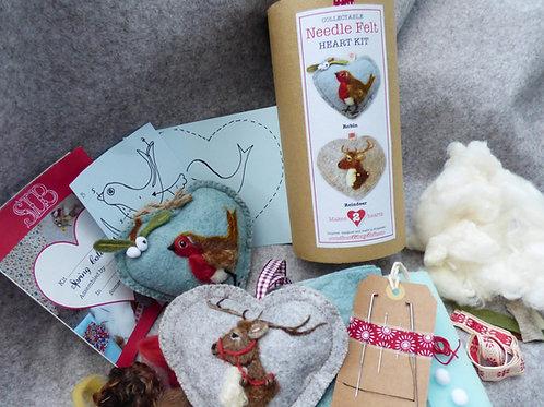 Robin and Reindeer Needle Felt Heart Kit