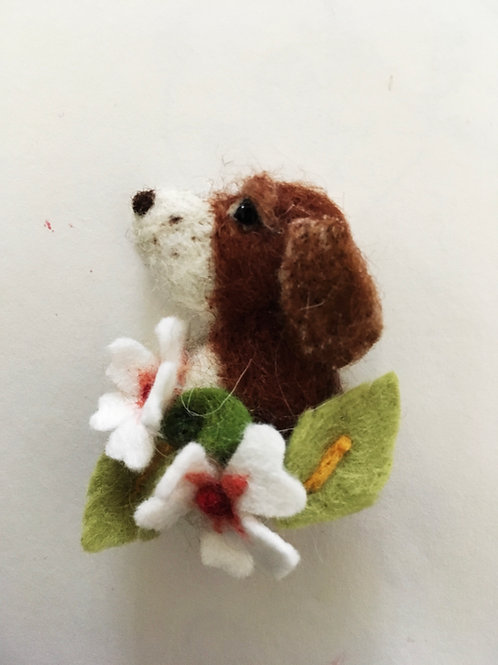 Your Dog with flowers - Felt Brooch