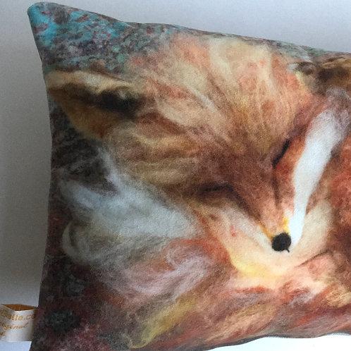 Sleeping fox cushion, printed needle felt design velvet feel pillow