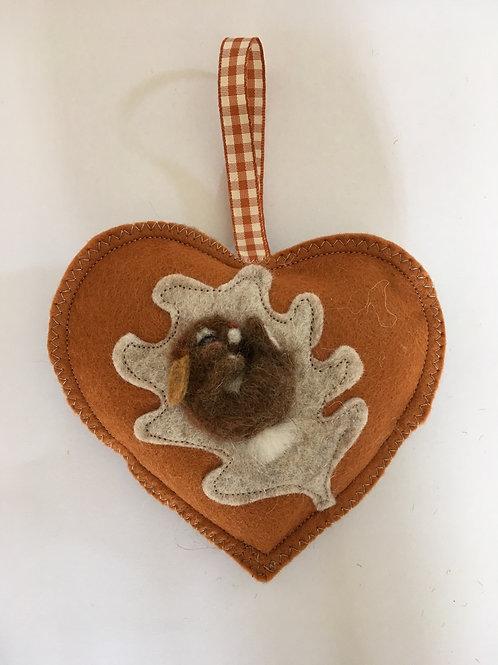 Sleeping Rabbit ~  personalised gift heart