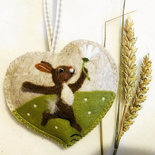 Dancing Daisy Rabbit ~  personalised gift heart