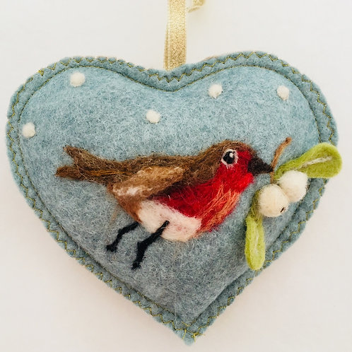 Robin flying with Mistletoe ~  personalised gift heart
