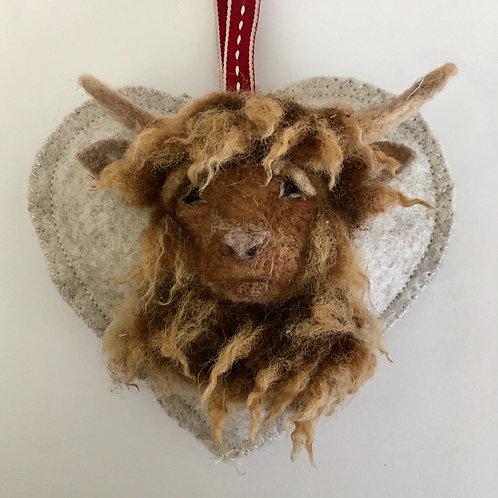 Highland Cattle decorative heart ~ personalised gift heart