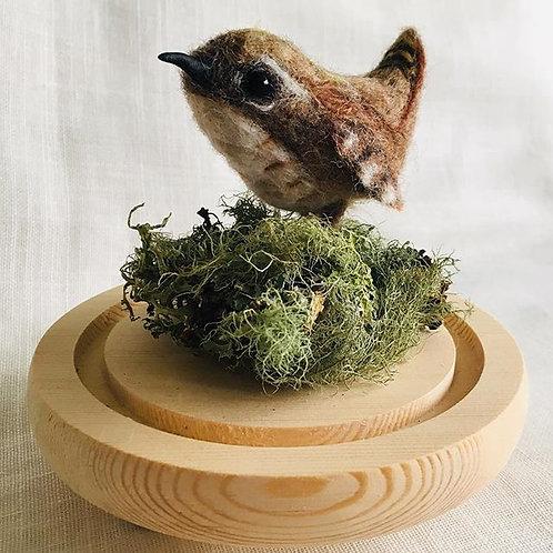 Jenny Wren felted sculpture in a glass globe