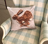 Hare felted cushion