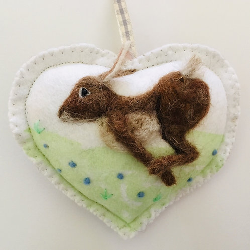 Racing Hare ~ personalised gift heart, personalized gift
