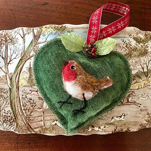 Robin on Green Velvet ~ personalised gift heart, personalized gi