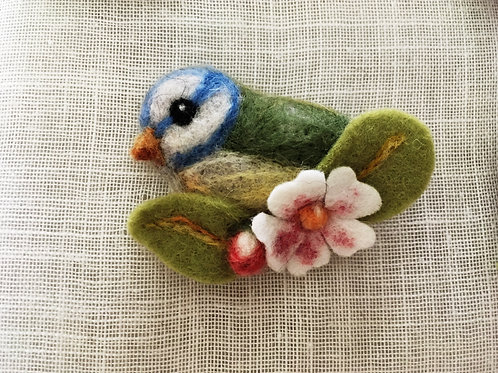 Blue bird with pink Felt Flower brooch