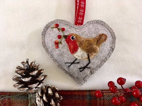 Robin with Berries ~ personalised gift heart, personalized gi
