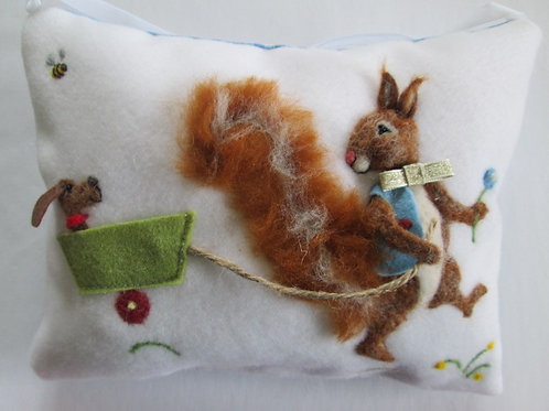Boy Squirrel Tooth Fairy Pillow pulling dog in a wagon