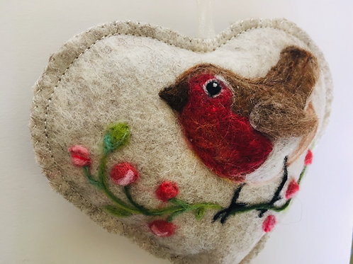 Rose bud Robin ~ personalised gift heart, personalized gift
