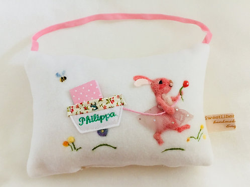 Tooth Fairy Pillow Pink Ballet Bunny in a tutu