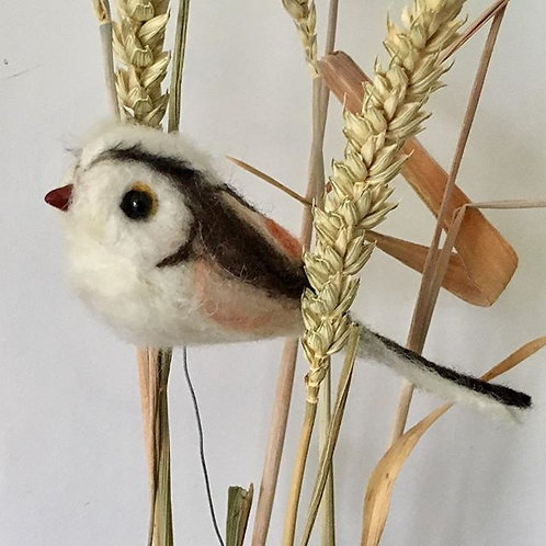 Long Tail Tit life size  sculpture on a hanging thread