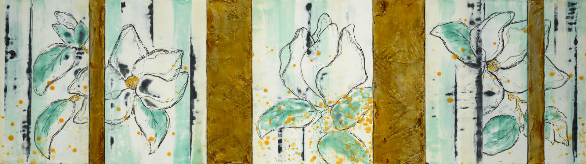 Magnolia XI_Encaustic & Mixed Media_17x56_2015_$2,800