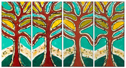 Red Woods (Quadtych)_Encaustic Mixed  Media_2010_38x74_$4,800