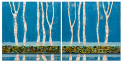 Tree Lines-Still Waters-Diptych_24x50_Encaustic, Ink, Burned Duct Tape & Shellac_2016_$1200