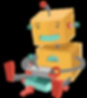 Robot juega con el juguete