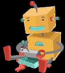 Робот играет с игрушкой