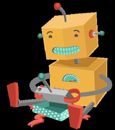 Robot gioca con il giocattolo