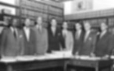 Brown v. Board of Education plaintiff attorneys with Hill and Robinson flanking Thurgood Marshall.