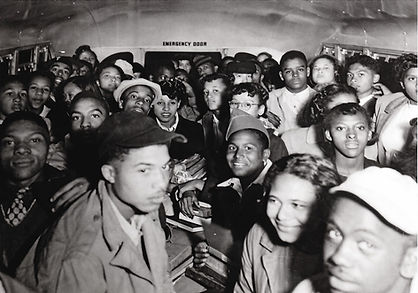 crowded school bus, Pulaski County, Virginia, about 1948.