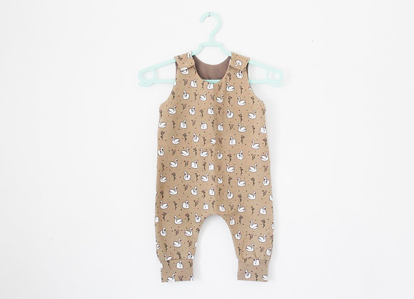 Romper - Swans with Taupe Lining
