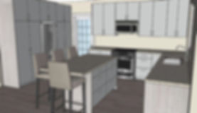 The davis kichen digital drawing with kitchen island and view of fridge and front door