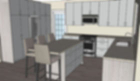 digital drawing of the franklin kitchen with view of the fridge and front door and including the kitchen island