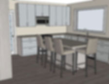 digital kitchen drawing of the franklin kichen with island included and view of the large window above the sink