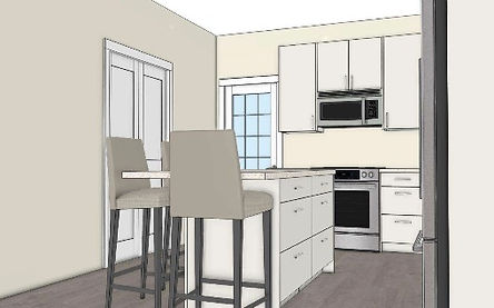 digital drawing of th hopkins kitchen facing the front door