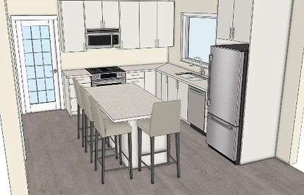 digital drawing of hopkins kitchen from an elivated view
