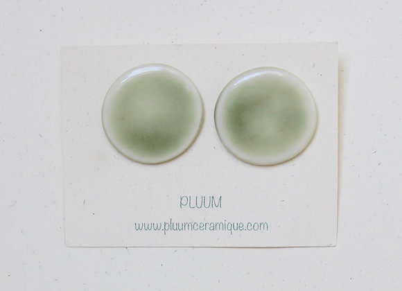 Puces d'oreilles en porcelaine, diamètre 2.5 cm