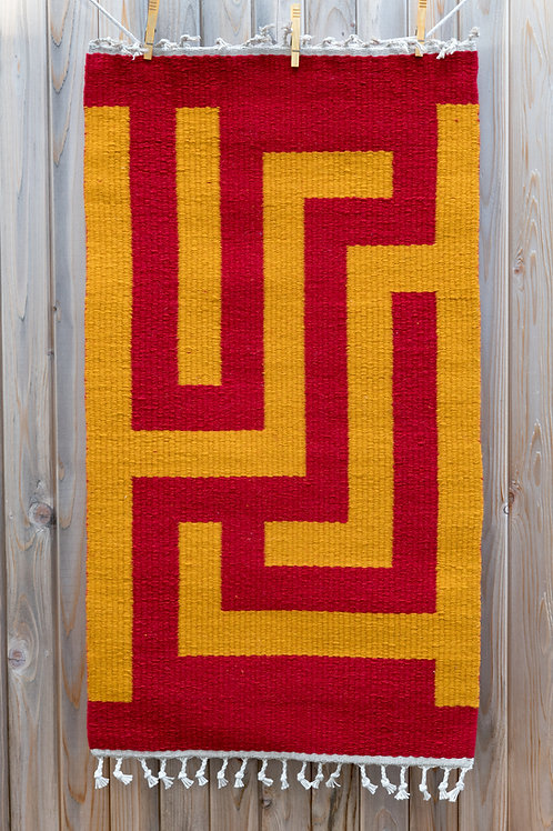Brightly Colored Block Design Wool Rug