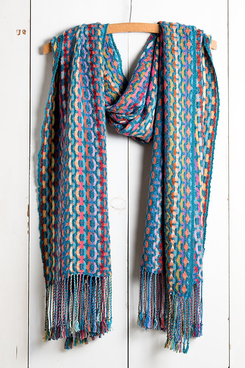 Multi-color Deflected Double Weave Shawl