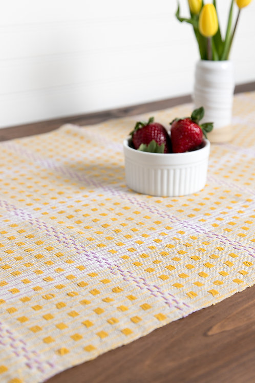 Checked Linen Table Runner