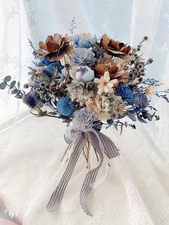 乾燥捧花(藍灰色系)